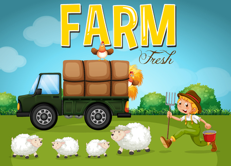 Farm scene with farmer and sheeps illustration