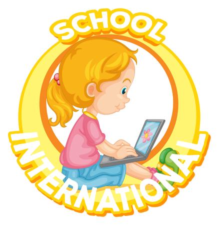 International school logo design with girl working on computer illustration