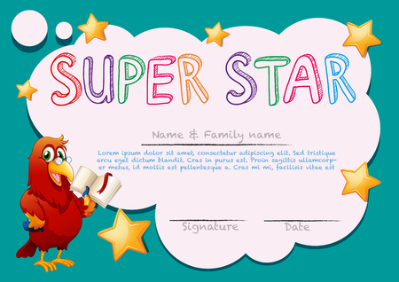 macaw: Certificate template for super star illustration