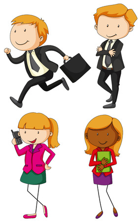 four people: Business people in four actions illustration