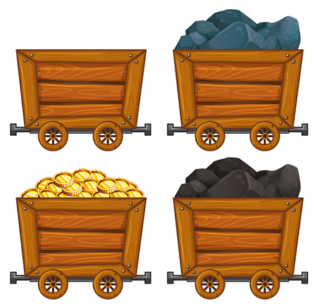 Mining products in wooden carts illustration Illustration