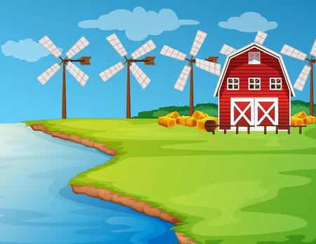 Scene with windmills on the field illustration Illustration