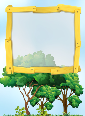 borders plants: Frame design with trees in background illustration