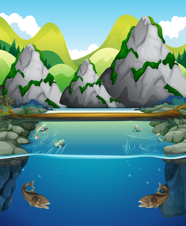 River scene with fish and mountain illustration