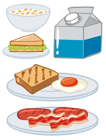 multiple objects: Set of breakfast with egg and milk illustration Illustration