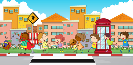 Happy children walking on sidewalk illustration