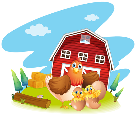Kip en kuikens op de boerderij illustratie Vector Illustratie
