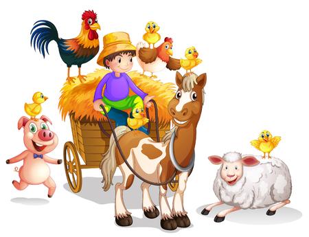 Farmer and many farm animals illustration