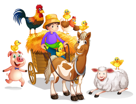 Farmer and many farm animals illustration