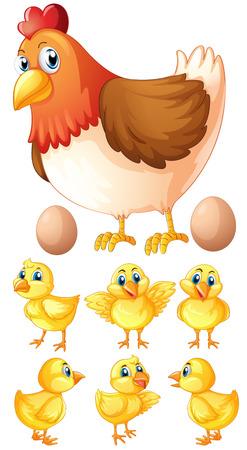 Hen and six chicks illustration