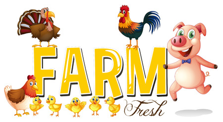 Font design for farm with pig and chickens illustration