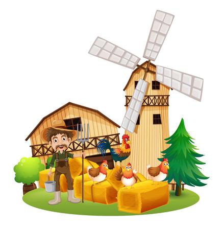 Farmer and chickens on the farm illustration Illustration