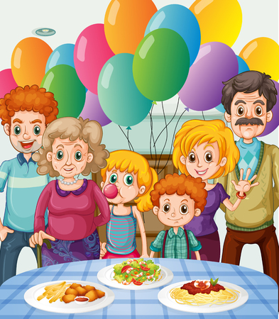 childen: Family having party at home illustration