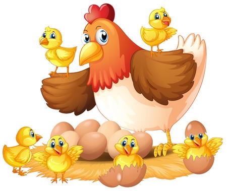Hen and chicks on nest illustration