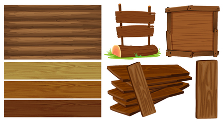 Different design of wooden board illustration Illustration