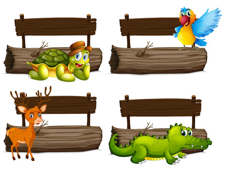 macaw: Wooden signs with many animals illustration