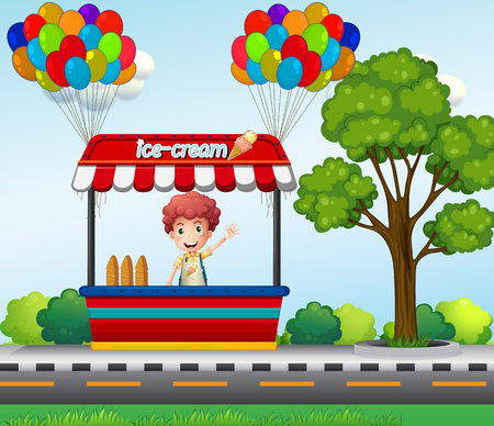 Boy selling icecream in the park illustration