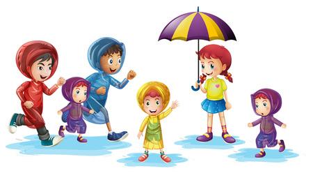 Children wearing raincoats in rainy season illustration Illustration