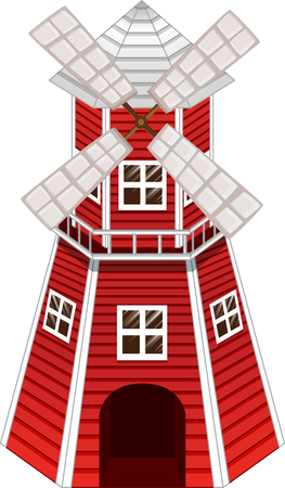 Red windmill on white background illustration Illustration