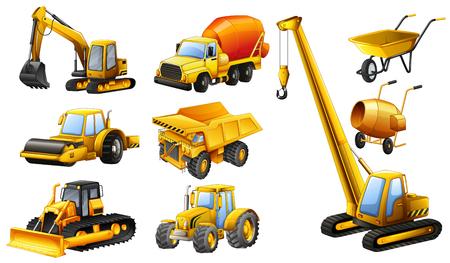 Verschillende typen bouwwagens illustratie