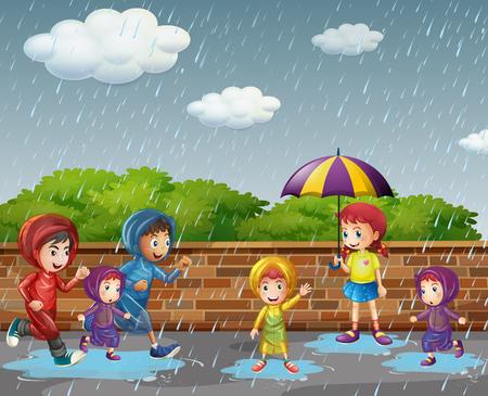 Many children running in the rain illustration 矢量图像
