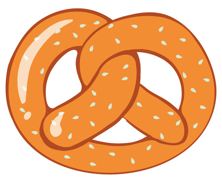 white bread: Pretzel bread on white background illustration
