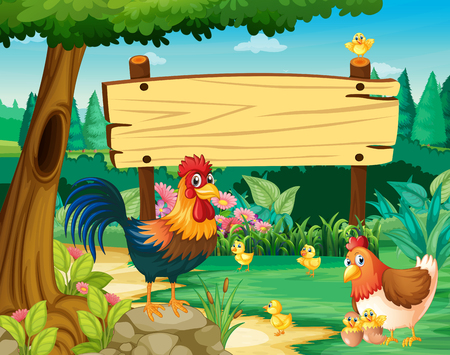 Wooden sign and chickens in park illustration Illustration