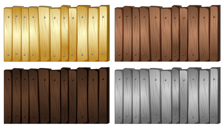 plywood: Four colors of wood for fence illustration