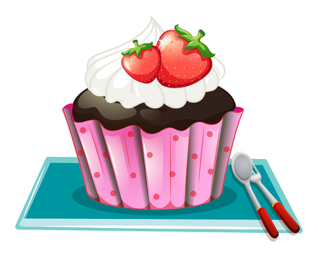 fruit cake: Cupcake with cream and strawberries illustration