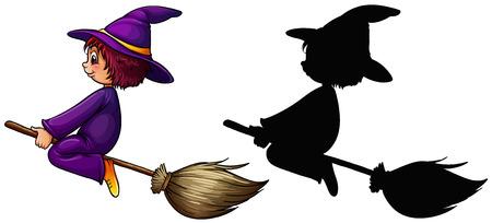 Bruja, vuelo, escoba, Ilustración