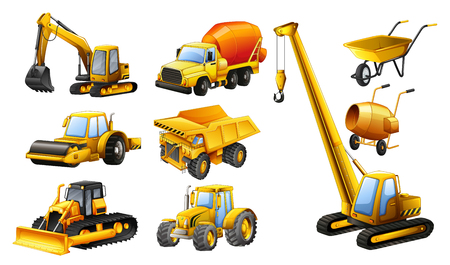multiple objects: Different types of construction trucks illustration