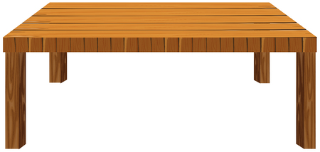 table decor: Wooden table on white background illustration