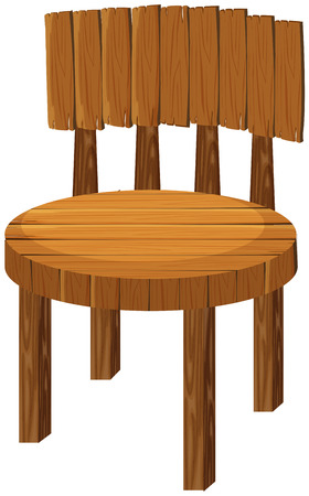 Round wooden chair on white illustration