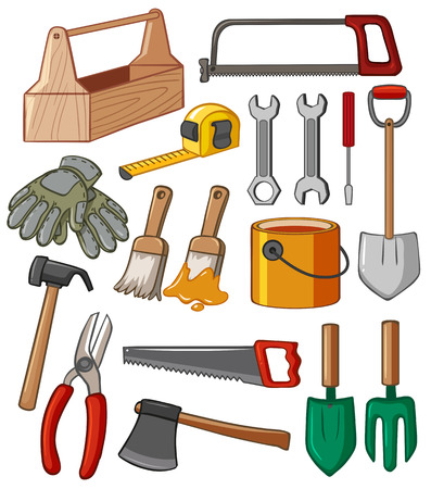 Toolbox and many tools illustration
