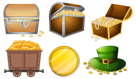 Different containers filled with gold illustration