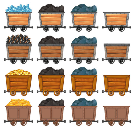 loaded: Mining carts loaded with stone and gold illustration
