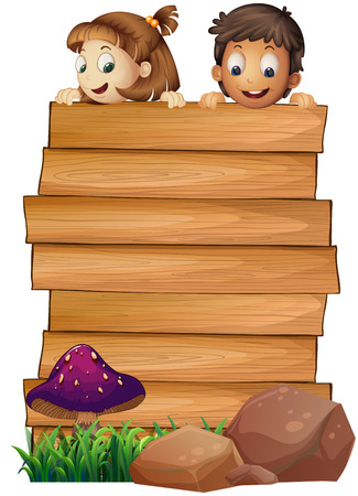 wooden board template with boy and girl illustration royalty free