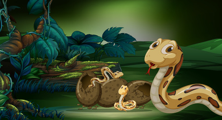 crawling creature: Snake and its offsprings in forest illustration