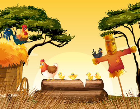 log on: Chickens and scarecrow in the field illustration