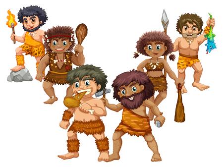 Cavemen en diferentes posiciones ilustración Ilustración de vector