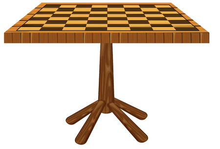 Checker board carved on table illustration