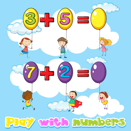 Kids adding numbers on balloons illustration