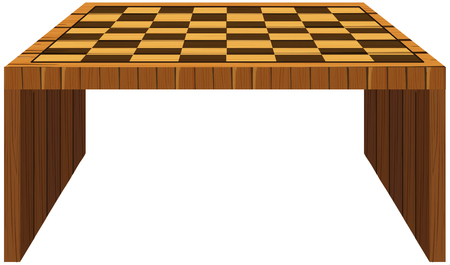 table decor: Wooden table with checker pattern on top illustration