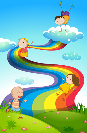 Happy children on rainbow illustration