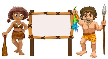 prehistoric: Border template with two cavemen illustration