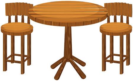 라운드 나무 테이블과 의자 그림 일러스트