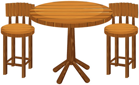 wood chair: Round wooden table and chairs illustration