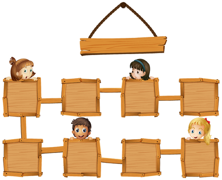 message board: Kids and wooden boards illustration