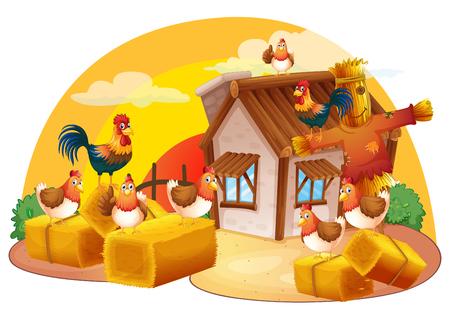 Pollos y espantapájaros en la ilustración granja Foto de archivo - 74028692