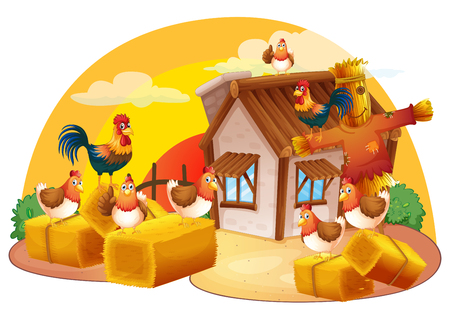 Chickens and scarecrow in the farm illustration